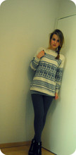 Linnéa B - H&M Wedges, Vintage Knitted Sweater, Grandmas Tuquise Rigns - Sugar town