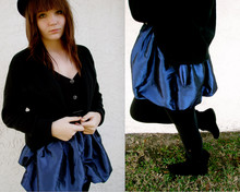 Meghan Johnson - Forever 21 Blue Taffeta Dress, Goodwill Black Sweater, Arizona Velvet Boots, C'est Vrai Beret, Goodwill Black Belt - I'm a legionnaire.