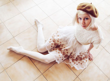 Elin . - Vintage Beret, Vintage Lace Shirt, Made Out Of An Old Curtain Lace Skirt, Topshop Tights - Lace lace lace