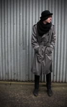 Jack Spicer Adams - Bowler Hat, Loop Scarf, Trench Coat, Slim Things, The Coolest Boots In The World. - Backwards.