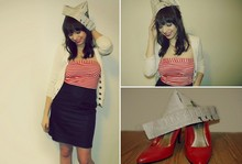 Kelsey R - White Cardigan, Sailor Dress, Locket, Paper Hat, Red Heels - A Sailor's Valentine