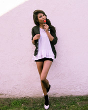 Tiffany Borland - American Apparel Cardigan, Marc By Jacobs Ruffle Top, Marc By Jacobs Heart Heels - One more potential lover