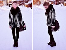 My Blomquist - H&M Cardigan, Nelly Shoes, Zara Bag, Gina Tricot Scarf - Stripes