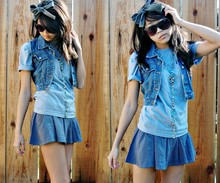 Kay T - Handmade Jean Bow Headband, Beaded Necklace, Jean Vest, Blue T Shirt, H&M Blue Skirt - Monochromatic