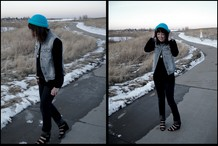 Mandy Kim - H&M Bowler Hat, Forever 21 Jean Vest, Forever 21 Wedges - Outside my house and outside my mind
