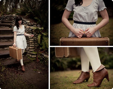 Kaelee Butner - ? Booties, Urban Outfitters Elizabeth Bennet Dress, Goodwill Vintage Suitcase, Target White Tights - One Day I Slowly Floated Away