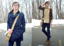 Michael C - Beige Fedora, H&M Navy Trench Coat, Messanger Bag, H&M Military Shirt, American Apparel Navy Slim Slack, American Apparel Oversized Pocket Cardigan, Clarks Desert Boots - Mitä Kuuluu