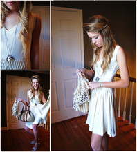 Becca Hill - Diy White Dress, .. I Just Found This In My Grandmothers Room, Loft Heels, River Island Purse, American Eagle Outfitters Seahorse Neckleesss, Anthropologie Beaded Headband - He said she said live like no tomorrow