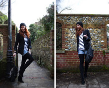 Toni Brown - H&M Beenie, H&M Blazer, Thomas Wilde Skull Leather Bag, Zara Ankle Boot Wedges - Down the Rabbit's hole