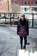 Kaitie Brace - Black Circle Scarf D.I.Y, Pink Floral Ruffle Dress, Value Village Leather Boots - She regarded her whole body as a scar grown over some earlier perfection