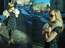 Kimberly Pesch - H&M Sheath Dress, Anthropologie Sunglasses, Anne Klein Booties - Foxy Lady