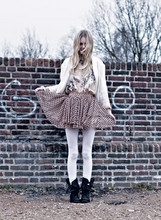 Cocorosa . - All Saints Boots, Topshop Dotted Skirt, Topshop White Sequined Jacket, Zara Silk Blouse - Whitelegged