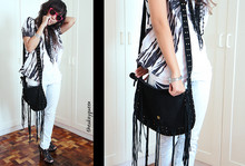 Pat Dela torre - Thrifted Black Fringed Bag, Thrifted Abstract Streaked Blazer, Mango White Washed Jeans, Diy Bib Necklace - No Strings Attached