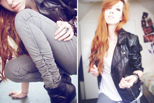 Daria G. - Biker Jacket, River Island Top, Grey Jeggings, Ankle Boots - Come break me down