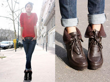 Denni Elias - American Apparel Red Pull, Leather Belt, Gap Jeans, Tommy Hilfiger Boots - Quick bun