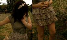 Meghan Johnson - Icing Flower Headband, Arizona Grey Poof Sleeve Top, Goodwill Floral Pattern Skirt - We are all rabbits.