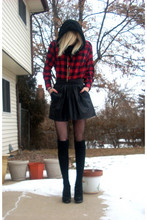 Victoria N - Target Knit Socks, Forever 21 Lace Up Pump, Forever 21 Circle Scarf, Flannel Shirt, Thrifted Gold Necklace, Leather Like Skirt, Betsey Johnson Fishnets - A little lumberjack