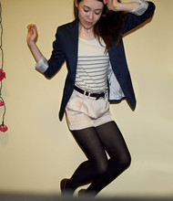 Rose A - New Look Blazer, Topshop Top, Topshop Silk Shorts, Topshop Belt, Brogue - Where is my mind