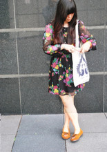 Valencia Lia - Minnetonka Moccasins, Topshop Floral Bareback Dress, Swapped Tote Bag - Like the rushing wind, I feel you all around me.