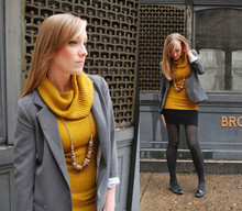 Kimberly Pesch - H&M Turtleneck, H&M Necklace, Silence & Noise Blazer, Nine West Heels - Mustard Betty