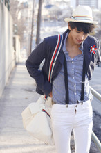 Bobby Raffin - H&M Spring Duffle Bag, H&M Navy Blazer, Spring Blouse, Thrifted Flower Brooch, White Jeans, Spring Straw Fedora - Look on the brightside.
