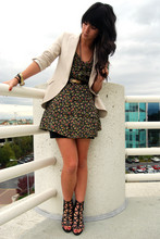 Krystal Bick - Zara Boyfriend Blazer, Vintage Floral Dress, Unknown Black Cage Heels - This miracle is of ecstatic fright