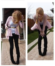 Esikazemese _ - Zara Black Leather Boots, Zara Black Skinnies, Zara Pink Cardi, H&M Golden Leaves - Let your head (hair) go!