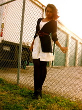 Zahra Ahmed - Boyfriend Cardigan, Belt, Forever 21 Lace Dress, Charlotte Russe Black Heels - Lace + barb wire