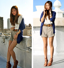 Aimee Song - H&M Blue Cardigan, H&M Eyelet White Top, H&M Butterfly Ring, Men's Trousers - You Give Me Butterflies