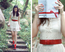 Mayo Wo - Lace Dress With Lace Up Details!, Baby & Double Bow Mary Jane - Raspberries