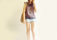 Q A - Purple Studded Tee, Forever 21 Necklace, Some Flea Market Random Cutoffs - /