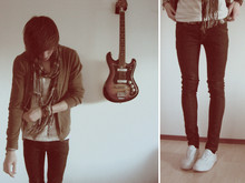 Colin D - Keds Canvas, Cheap Monday Jeans, American Apparel Tank Top, American Apparel Cardigan, H&M Scarf - 'thepassingtime