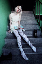 Elin . - Home Made Dress, A Shop Which I Don't Remember The Name Of Tights, Din Sko Shoes - Polka dots and stairs