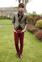 Adrian Cano - Topman Blazer, Shoes, Maroon Trousers, Stripped Scarf - G5I50ADFG