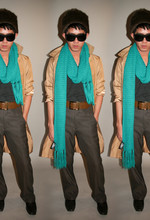 VINH VUITTON - Wide Leg Dress Pant, Aldo Dress Shoes, Urban Outfitters Faux Fur Hat, Eye Doctor Dilated Sunglasses, Banana Republic Trench, Forever 21 Oversized Teal Scarf, American Apparel Tank Top, Vintage Belt - Peter, Paul & Mary