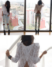 Christine L. - Lace Shoulder Top, Sneak Peek Destroyed Jeans, Jeffrey Campbell Clinic Wedges - I want i want