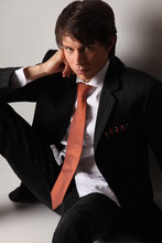 Andreas M. - Bespoke Black Suit With Orange Pin Stripes, Orange Tie, Orange Striped Pocket Square, Gap White Shirt - Scar tissue
