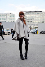 Louise Ebel - Zara Cape, Gucci Shoes - Paris Fashion Week.
