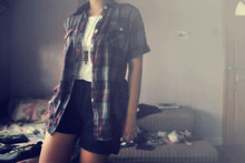 Cerisse Salvador - Polo Plaid, Plain White Shirt, Plain Black Shorts, Vintage Bronze Owl Necklace - Misguided Ghosts