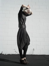 Biz C - Stephanie B Top, H&M Leather Vest, H&M Tulip Shorts, Wilfred Wool Leggings, Vialis Heeled Oxfords - Tulip