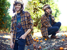 Adam Gallagher - Small Store In La Fur Hat, Fathers Brown Flannel, Levi's® Black Skinny's, Boots, Journey Shirt - Don't Stop Believin'
