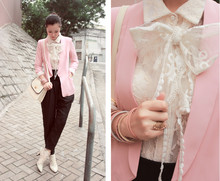 Mayo Wo - Lace Scarf Worn As Bow, Yull Pink Blazer, Pippies Ivory Lace Ankle Boots - One big lace bow