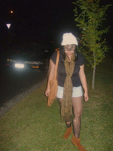 Jess Molina - Wild Pair Suede Fringe Bag, Suede Fringe Boots, Diy Torn Stockings, Thrifted Beanie, Cotton On Leopard Printed Scarf, Surpre Basic Black Shirt, Glassons Denim Shorts - And when the music fades away, I know I'll be okay.