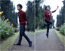 Agung Tresna - Koi Store Red Stripes Sweater, Koi Store Black Skinny Jeans, Robelli Black Shoes - Doesn't Mean Anything