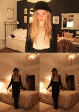Elsa Bodin - H&M Hat, Acne Studios Turtleneck Tanktop, Made It Myself. Sheer Skirt, Wolford Black Stockings, Vintage Black Cardigan - Sailor moon