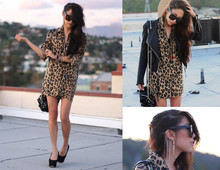 Christine L. - Vintage Silk Leopard Shirt, Illia Leather Jacket, Vintage Ear Cuff, Grey Ant Status Sunglasses - Leopard†leather