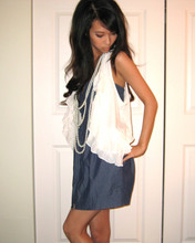 Winnie L - H&M Vest, Layered Pearl Necklace, Denim Strapeless Dress - Prim in pearls