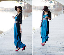 Crystal Wood - Goodwill Long Blue Dress, Goodwill Long Black Sheer Cape/Blouse, Guess? Red Heels - Two Worlds