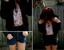 Meghan Johnson - High Waisted Shorts, Thrift Leather Jacket, Thrift Floral Top - The Wanting Comes In Waves