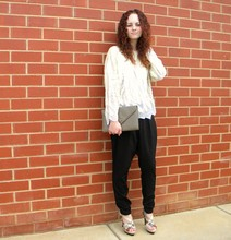 Maddison K - Op Shop White Sequin Jumper, Op Shop Grey Envelope Clutch, Brown Sugar Black Harem Style Dress Pants, Candi Beige And Snakeskin Print Heels - He is the reason for my confidence